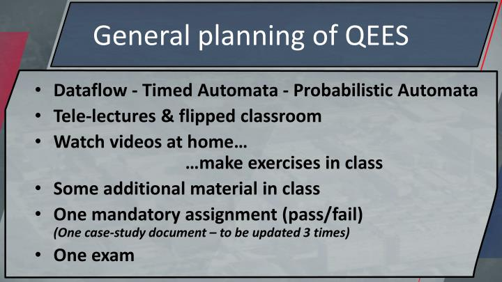 General planning of QEES