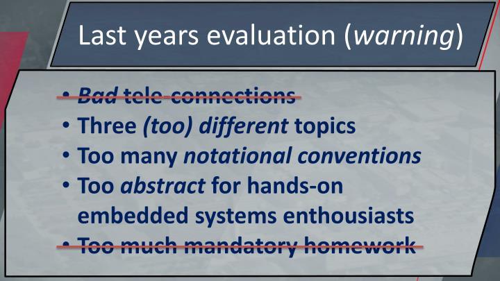 Last years evaluation (