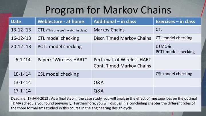 Program for Markov Chains
