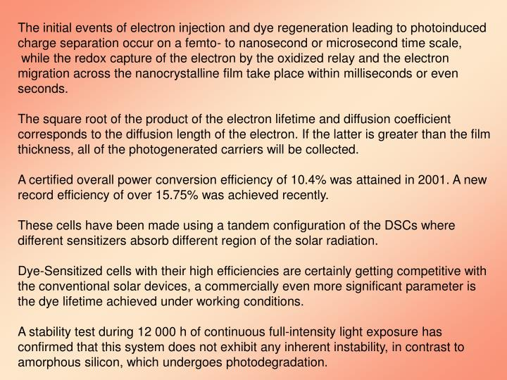 The initial events of electron injection and dye regeneration leading to photoinduced