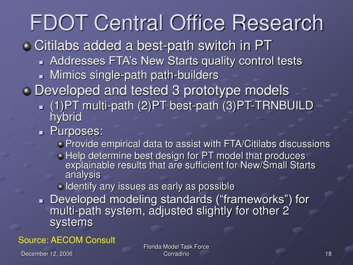FDOT Central Office Research