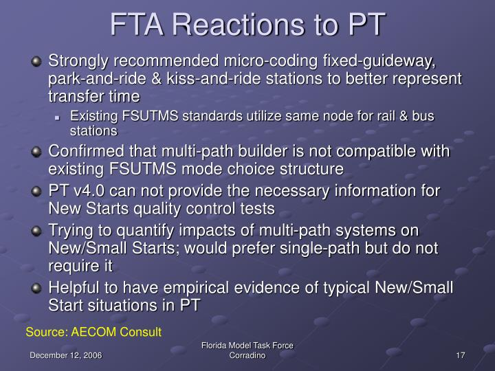 FTA Reactions to PT