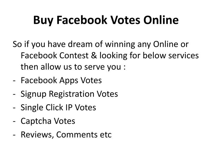 Buy Facebook Votes Online