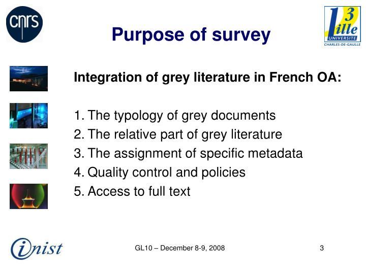 Purpose of survey