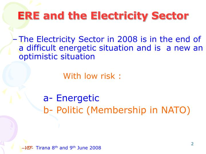 E re and the electricity sector