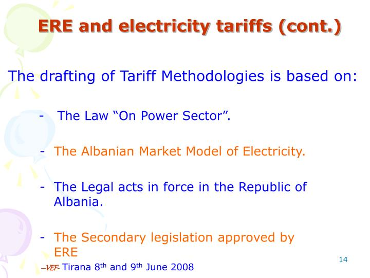 ERE and electricity tariffs (cont.)