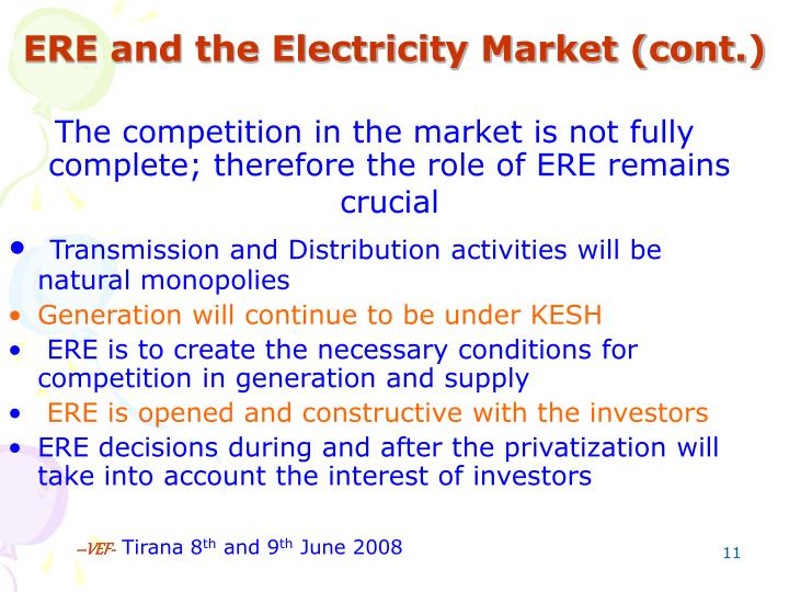ERE and the Electricity Market (cont.)