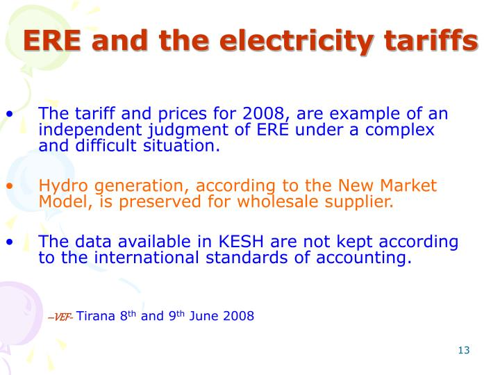 ERE and the electricity tariffs