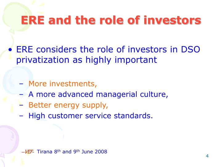 ERE and the role of investors