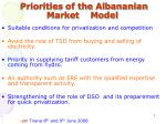 priorities of the albananian market model