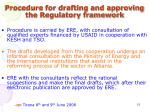 procedure for drafting and approving the regulatory framework