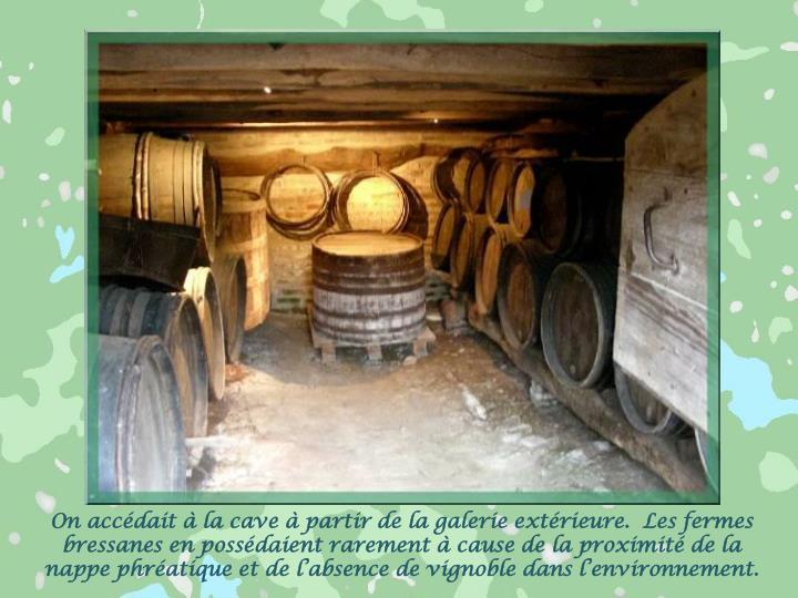 On accédait à la cave à partir de la galerie extérieure.  Les fermes bressanes en possédaient rarement à cause de la proximité de la nappe phréatique et de l'absence de vignoble dans l'environnement.