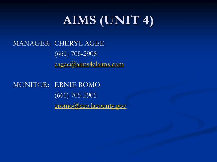 AIMS (UNIT 4)
