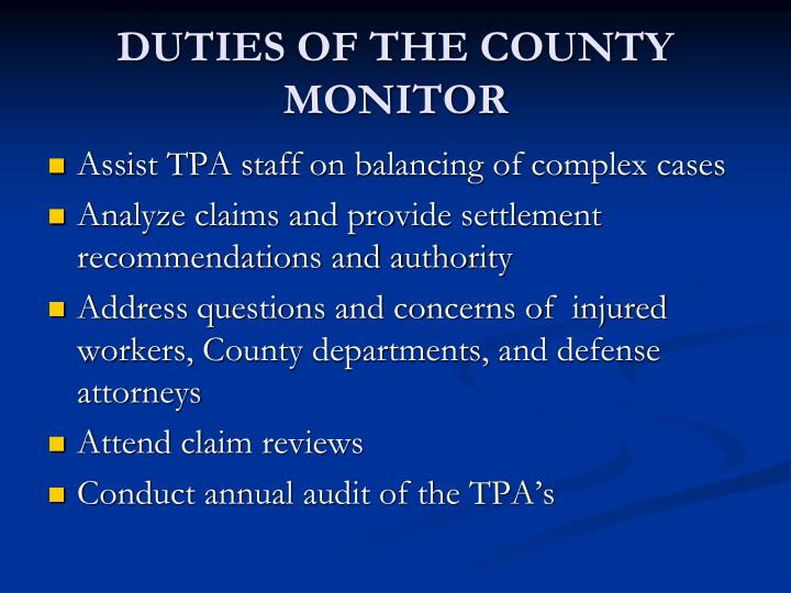 DUTIES OF THE COUNTY MONITOR