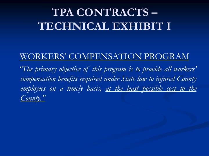 TPA CONTRACTS –