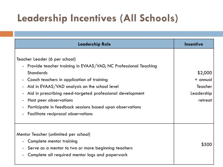 Leadership Incentives (All Schools)