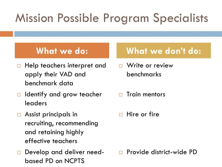 Mission Possible Program Specialists