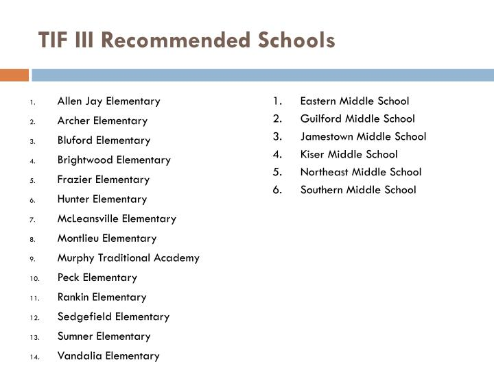 TIF III Recommended Schools