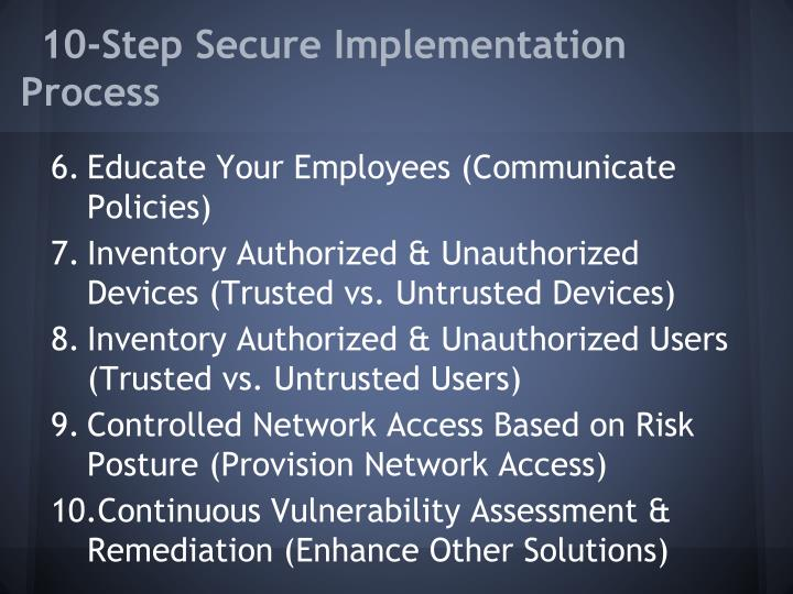 10-Step Secure Implementation Process