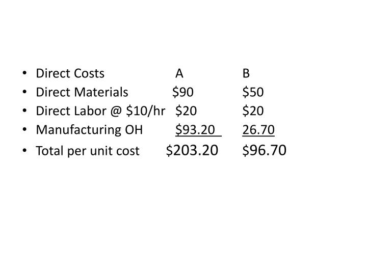 Direct Costs    A  B