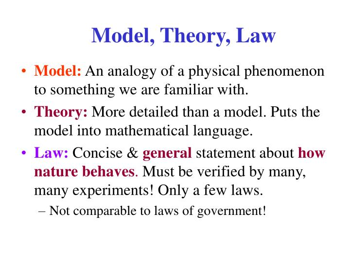 Model, Theory, Law