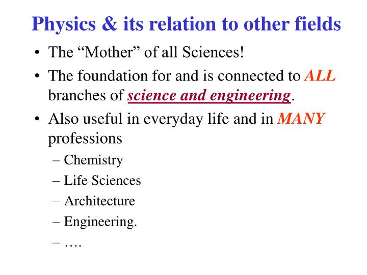 Physics & its relation to other fields