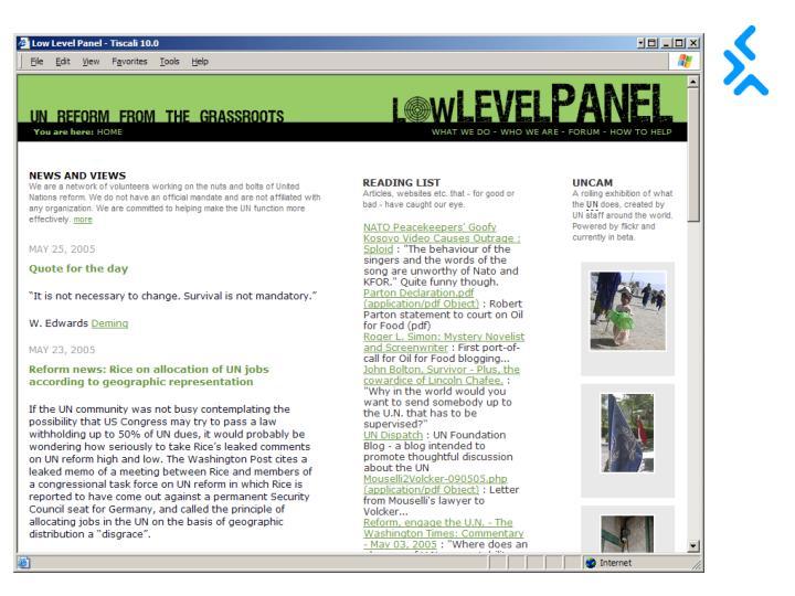 Screen grab of Low Level Panel