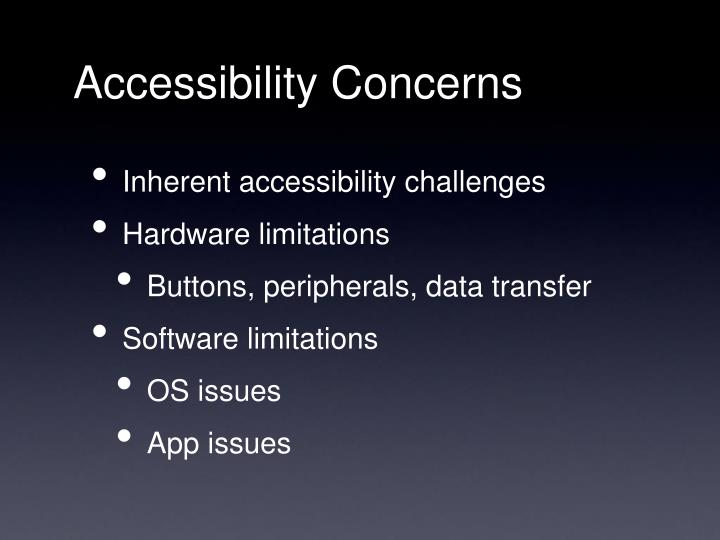 Accessibility Concerns