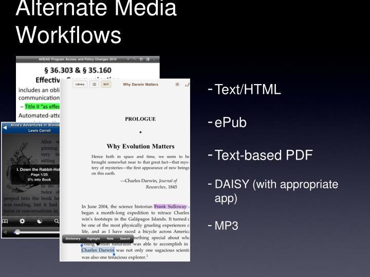 Alternate Media Workflows