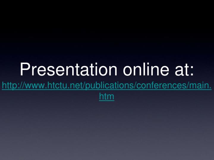 Presentation online at: