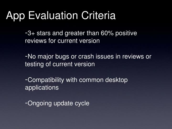 App Evaluation Criteria