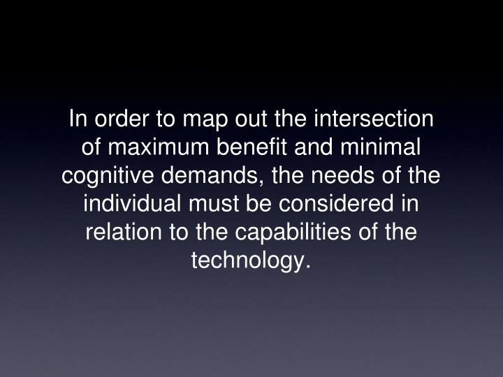 In order to map out the intersection of maximum benefit and minimal cognitive demands, the needs of the individual must be considered in relation to the capabilities of the technology.