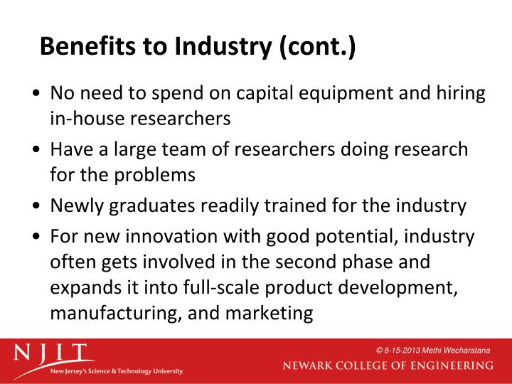 Benefits to Industry (cont.)