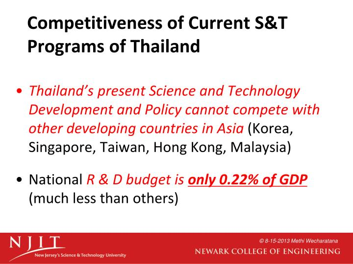 Competitiveness of Current S&T Programs of Thailand