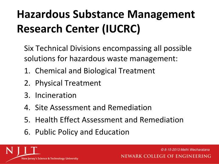 Hazardous Substance Management Research Center (IUCRC)