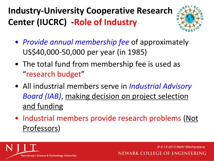 Industry-University Cooperative Research Center (IUCRC)  -
