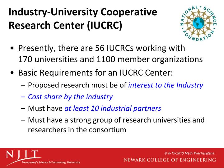 Industry-University Cooperative Research Center (IUCRC)