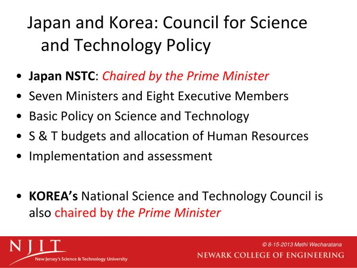 Japan and Korea: Council for Science and Technology Policy