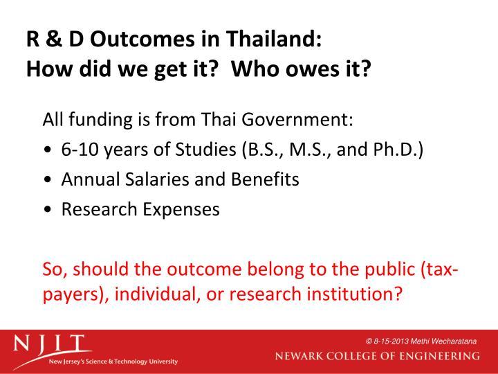 R & D Outcomes in Thailand: