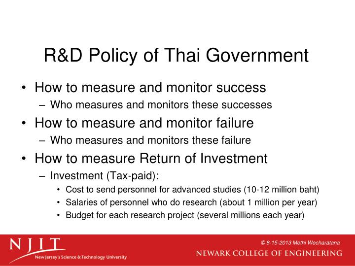 R&D Policy of Thai Government