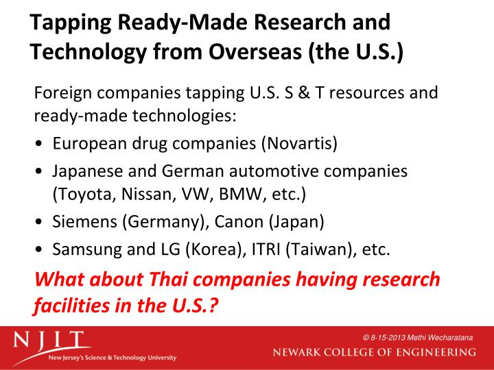 Tapping Ready-Made Research and Technology from Overseas (the U.S.)