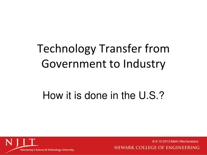 Technology Transfer from Government to Industry