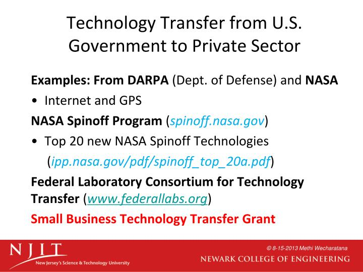 Technology Transfer from U.S. Government to Private Sector