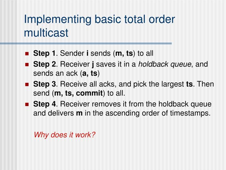 Implementing basic total order multicast