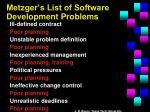metzger s list of software development problems