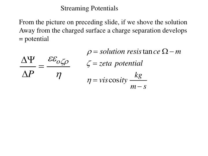 Streaming Potentials