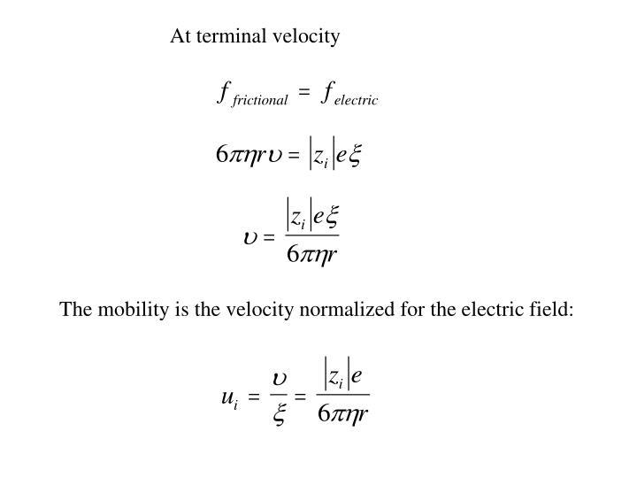 At terminal velocity