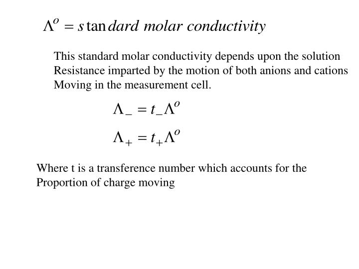 This standard molar conductivity depends upon the solution