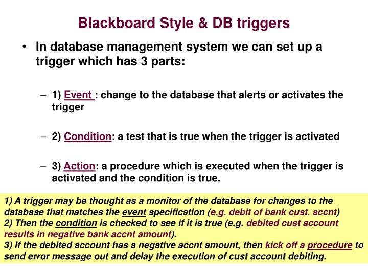 Blackboard Style & DB triggers