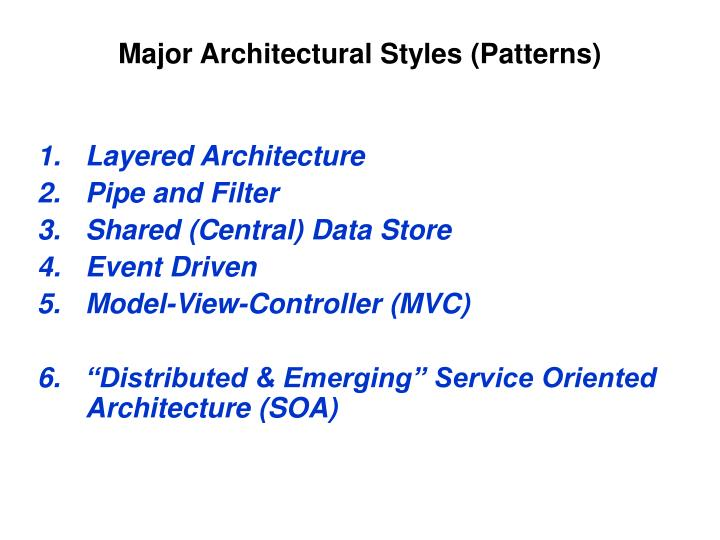Major Architectural Styles (Patterns)
